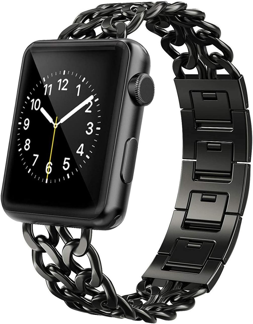 AmzAokay Replacement bands Compatible for Apple Watch 38mm 42mm Stainless Steel Metal Cowboy Chain Strap Wrist Band for Apple Watch 40mm 44mm Series 5 4 3 2 1 Sport and Edition (Black, 42mm/44mm)