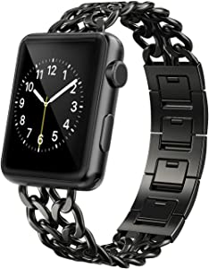 AmzAokay Replacement bands Compatible for Apple Watch 38mm 42mm Stainless Steel Metal Cowboy Chain Strap Wrist Band for Apple Watch 40mm 44mm Series 5 4 3 2 1 Sport and Edition (Black, 38mm/40mm)
