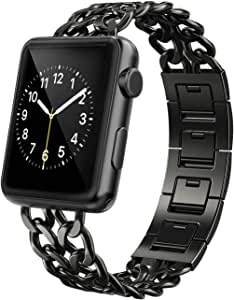 AmzAokay Replacement Bands Compatible for Apple Watch 38mm 42mm Stainless Steel Metal Cowboy Chain Strap Wrist Band for Apple Watch 40mm 44mm Series 5 ...