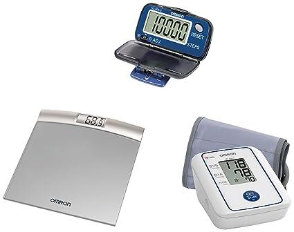 Omron casa salud, con monitor de presión sanguínea, báscula digital y digital podómetro (