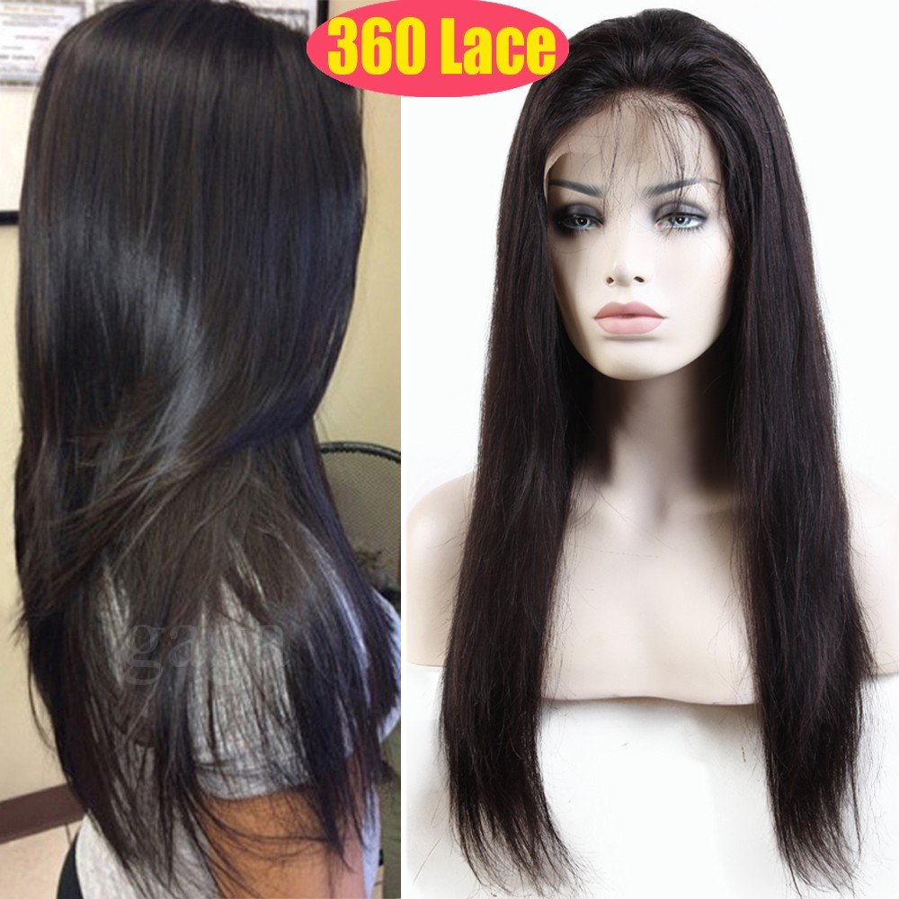 S-noilite 360 Lace Frontal Wigs 100% Brazilian Remy Virgin Human Hair Wig Pre Plucked Glueless Full Lace Front with Baby Hair Long Straight for Black Women (12''/12inch,Natural Black-1B,130% Density)