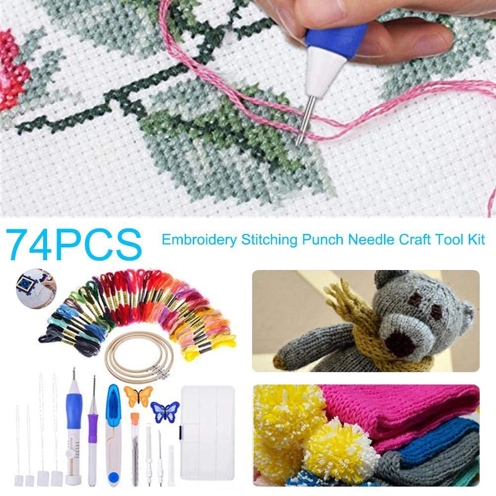 Explea Kits de Herramientas de Punto de Cruz 74PCS Kit de Herramientas de artesan/ía de Aguja de punzonado de Bordado Multicolor Conjunto de Costura de Pluma de Bordado m/ágico Multicolor feasible