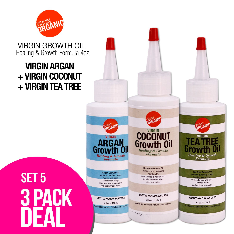 (3-in-One) Virgin Organic Argan, Coconut, Tea Tree Growth Oil Healing & Hair Growth Formula 4oz