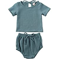 Infant Unisex Baby Boy Girl Summer Clothes Solid Cotton Linen Short Sleeves Top+Bloomer 2PCS Shorts Outfit Set