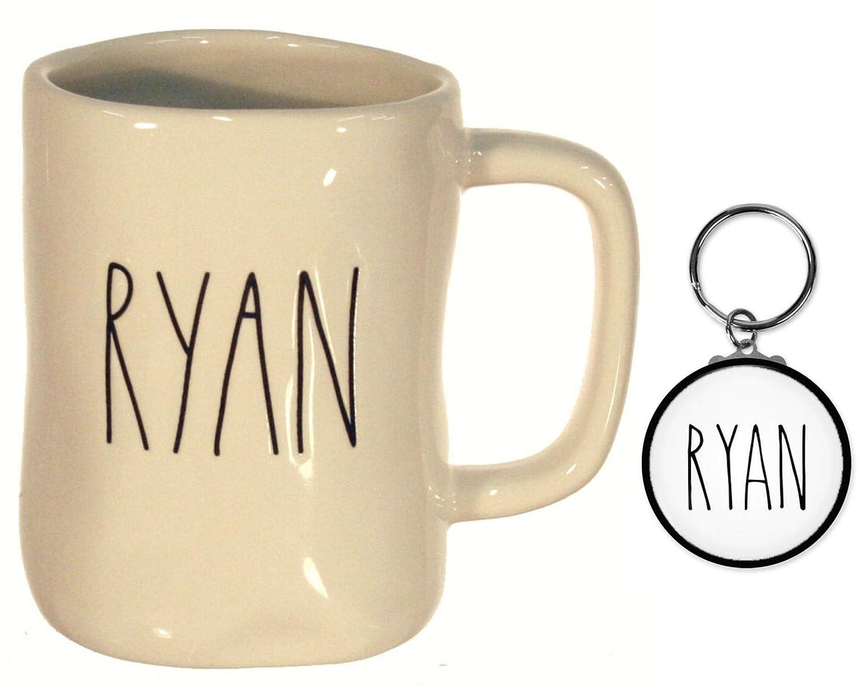 Rae Dunn NAME マグカップ 大きな文字 コーヒーティーやココアに お揃いのキーチェーン 卒業ギフトセット B07PGLC4D8 Ryan