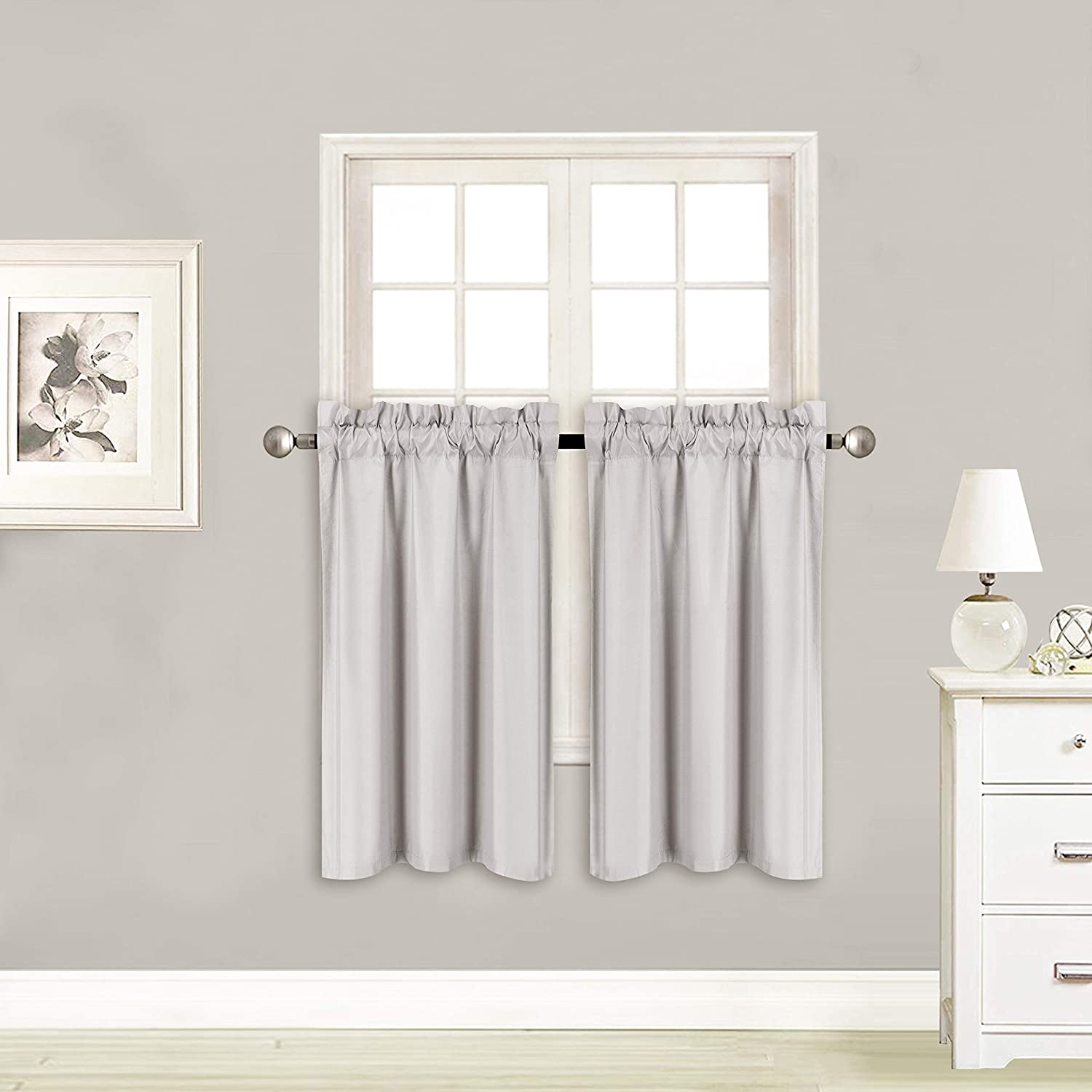 """Elegant Home 2 Panels Tiers Small Window Treatment Curtain Insulated Blackout Drape Short Panel 28"""" W X 36"""" L Each for Kitchen Bathroom or Any Small Window # R5 (Silver/Grey)"""