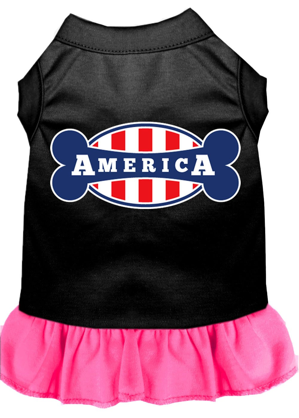 Mirage Pet Products 58-42 XXXLBPBPK Bonely in America Screen Print Dress, 3X-Large, Black with Bright Pink