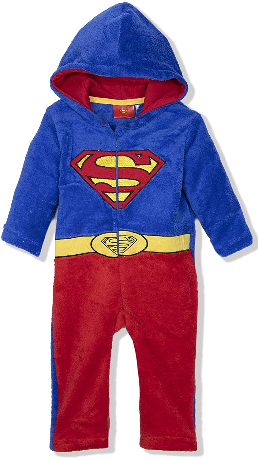 DC Comics Superman Batman Baby Toddlers Boys Onesie Jumpsuit Romper Warm Coral Fleece Pramsuit 9-36 Months
