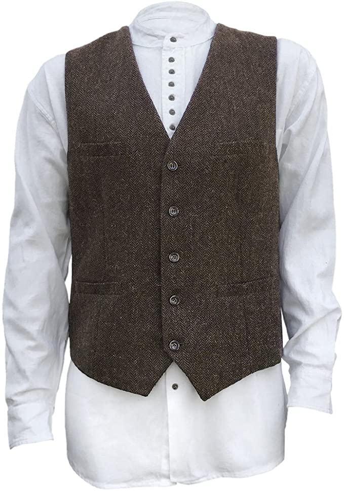 1920s Style Mens Vests Mens Irish Full Back Herringbone Wool Blend Tweed Vest in 3 Traditional Color Choices $69.99 AT vintagedancer.com