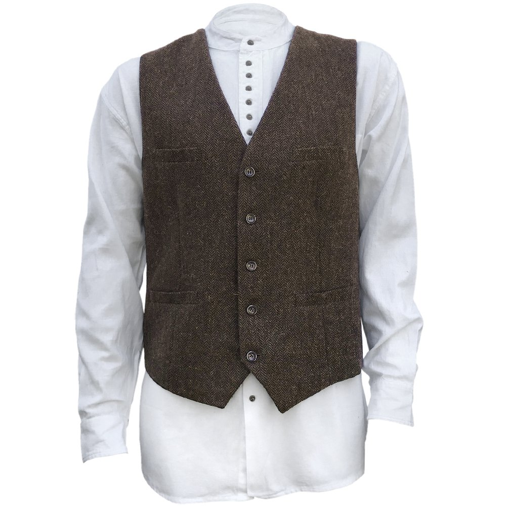 The Celtic Ranch Men's Irish Full Back Herringbone Tweed Wool Blend Vest in 3 Traditional Color Choices (Brown, 3XL)