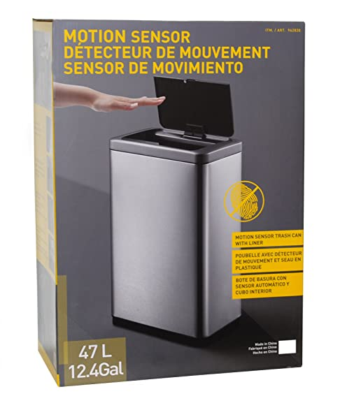 Motion Sensor Trash Can With Liner - Use 13 Gallon Trash Bags