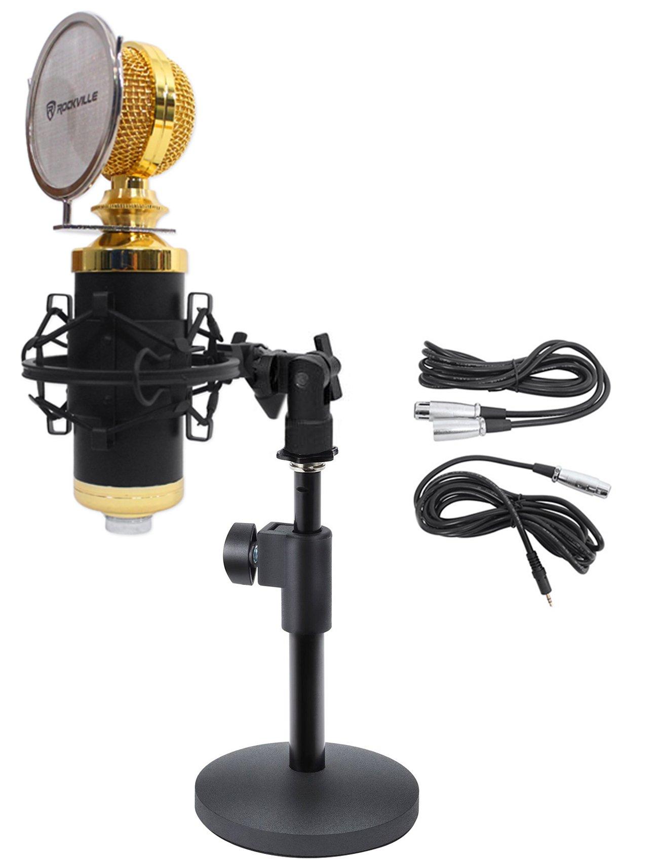 Rockville RCM02 Studio Podcast Recording Microphone+Samson Desktop Mic Stand