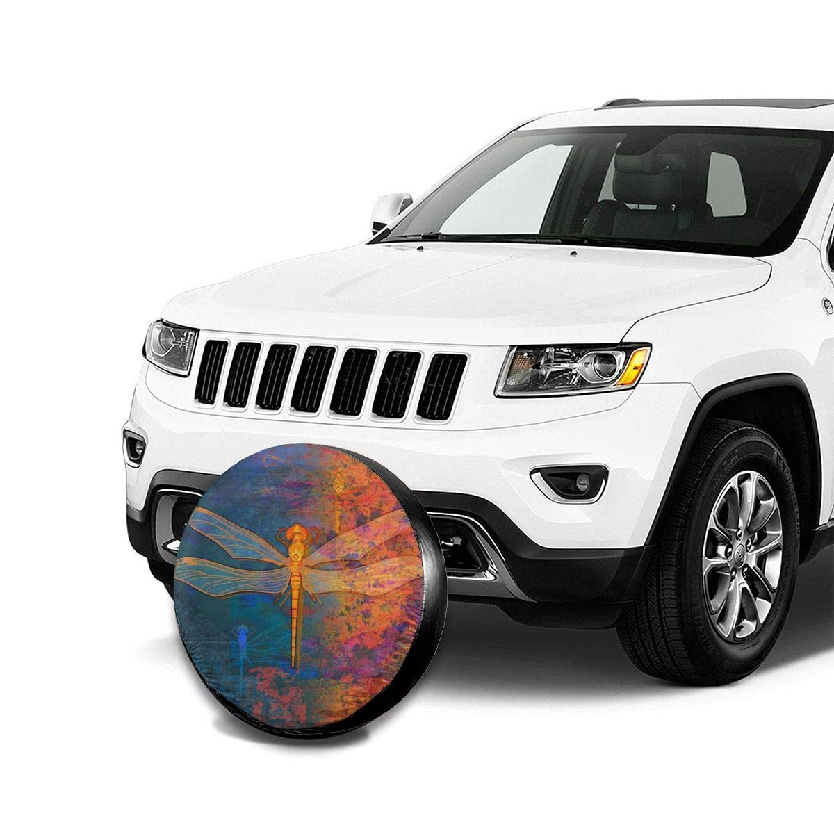 RV Becmd Flaming Dragonfly Universal Spare Wheel Tire Cover Fit for Truck Camper Van,Jeep,Trailer SUV Trailer Accessories15(Diameter 27-29