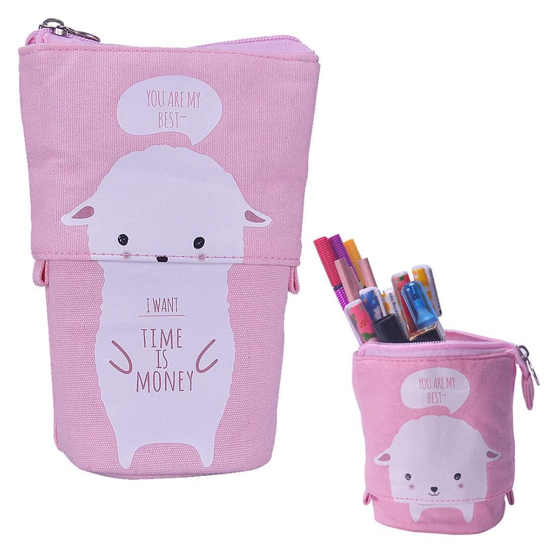 oyachic 1 pieza estuche Pencil Case bolsa de lápiz de animales Retractable lápices funda estuche Gran Capacidad estuche escolar lona estuche para ...
