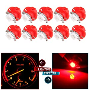 cciyu 10 Pack T5 B8.4D 5050 LED SMD Red Dash Auto Dash Gauge Instrument Panel Light Bulb/BMW E32 E34 E36 Dash Gauge Instrument LED Replacement fit for Dashboard Gauge Indicator Instrument Speedometer