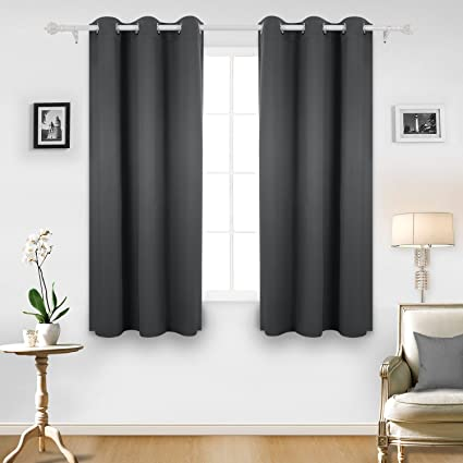 Deconovo Room Darkening Thermal Insulated Blackout Grommet Window Curtain  For Living Room, Dark Grey,