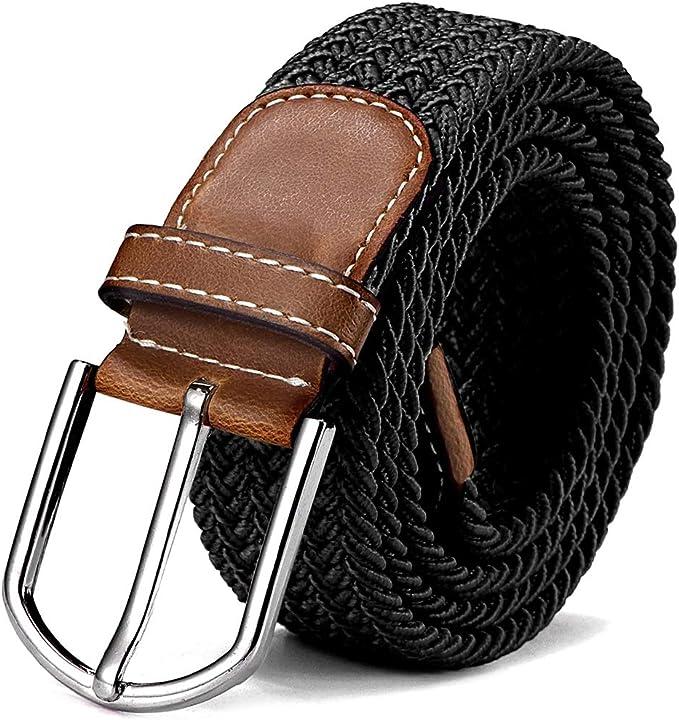 Attillata Cinturino con Fibbia in Stile Legno,3 Pezzi REYOK Cintura da donna,Cintura Elastica in Tessuto Elasticizzato in Paglia