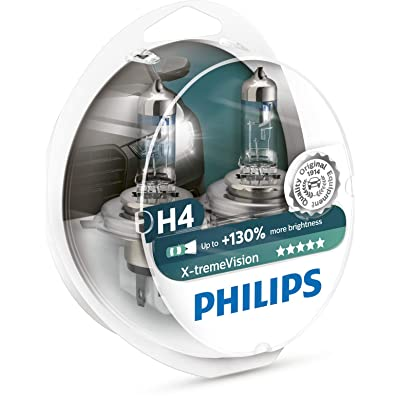 Philips X-treme Vision +130% Headlight Bulbs (Pack of 2) (H4 60/55W): Automotive