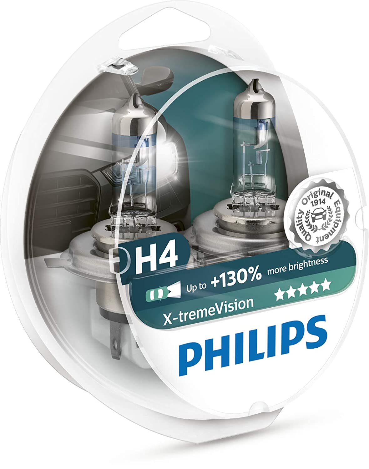 Pack of 2 130/% Headlight Bulbs Philips X-treme Vision H4 60//55W