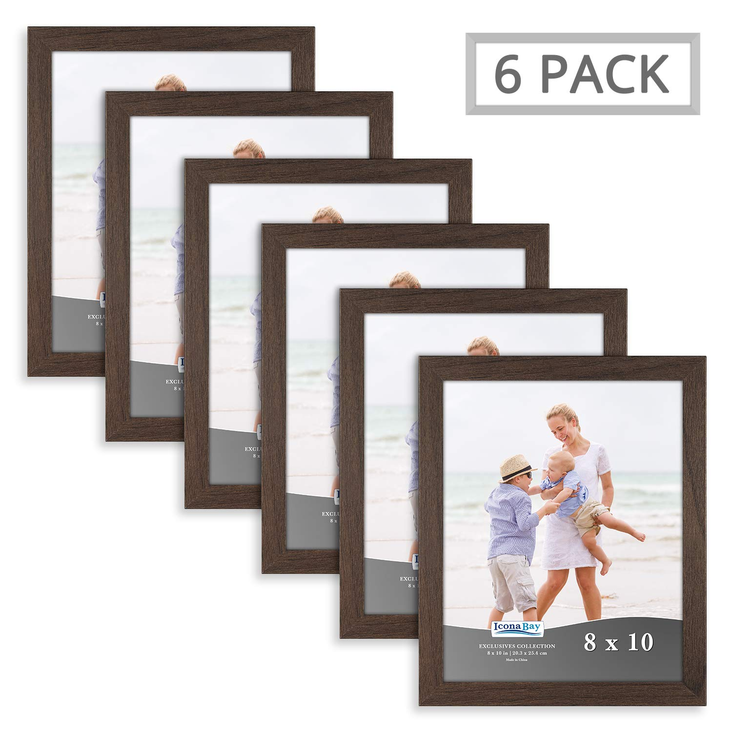 Icona Bay Picture Frames Set 8x10 (6 Pack, Hickory Brown Finish) Photo Frame Set for Wall, 8 by 10 Frame Picture Frames, Exclusives Collection