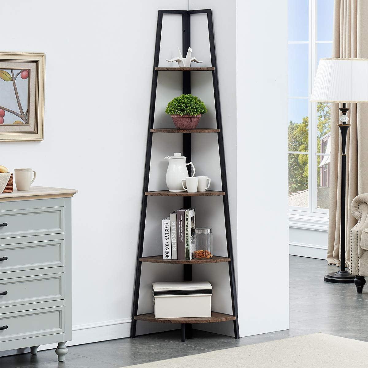 O/&K FURNITURE 5-Shelf Corner Etagere Bookcase for Small Space Industrial Tall Corner Bookshelf Gray-Brown Finish