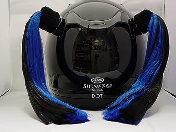 Negro y azul casco de ciclismo para mujer coletas funciona en cualquier motocicleta o otros casco