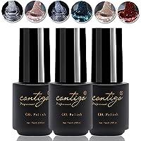 CONTIGO Glitter Gel Nail art Gellac Set Soak Off UV-LED Gel Polish 6 X 7ml