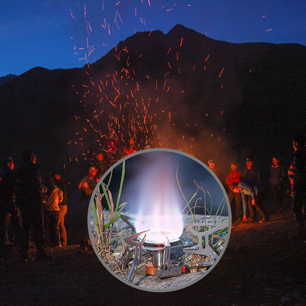 Dilwe Estufa de Camping Quemador Gas Plegable Aleaci/ón de Aluminio Encendido Piezo