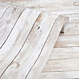 """Wood Wallpaper 17.71"""" X 118"""" Self-Adhesive Removable Wood Peel and Stick Wallpaper Decorative Wall Covering Vintage Wood Pane"""