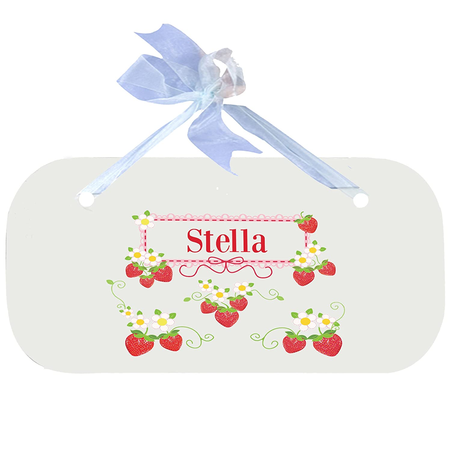 Personalized Strawberries Nursery Door Hanger Plaque with blue ribbon MyBambino