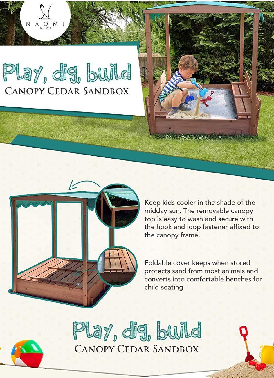 Naomi Home Kids Canopy Cedar Sandbox with Benches by Naomi Home (Image #6)