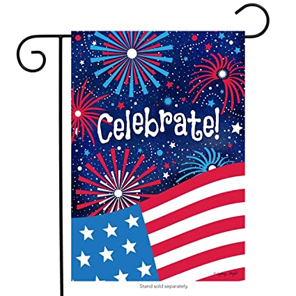 Celebrate Patriotic Garden Flag 4th Of July Fireworks USA 12.5u0026quot; ...