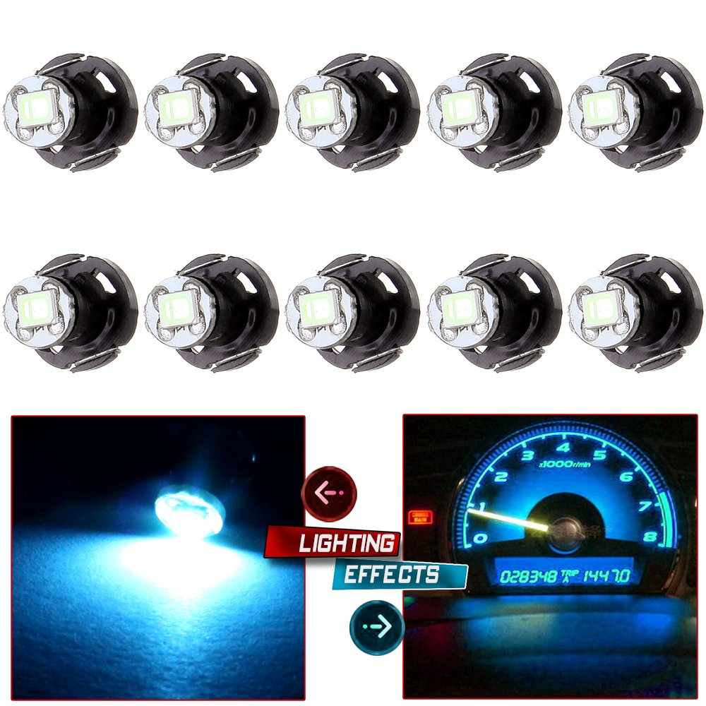 cciyu 10 Pack Ice Blue T4.2/T4 Neo Wedge LED Bulbs A/C Climate Control Light 1-2835-SMD Chips Light Bulbs Replacement fit for 1992-2000 Honda Prelude Accord etc. by cciyu