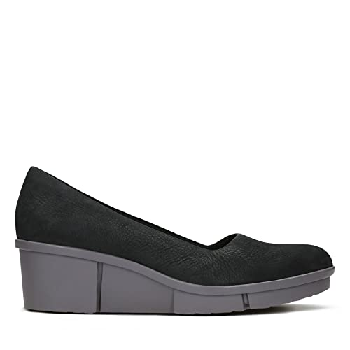 Clarks Pola Mae Nubuck Shoes in Black Standard Fit Size 3