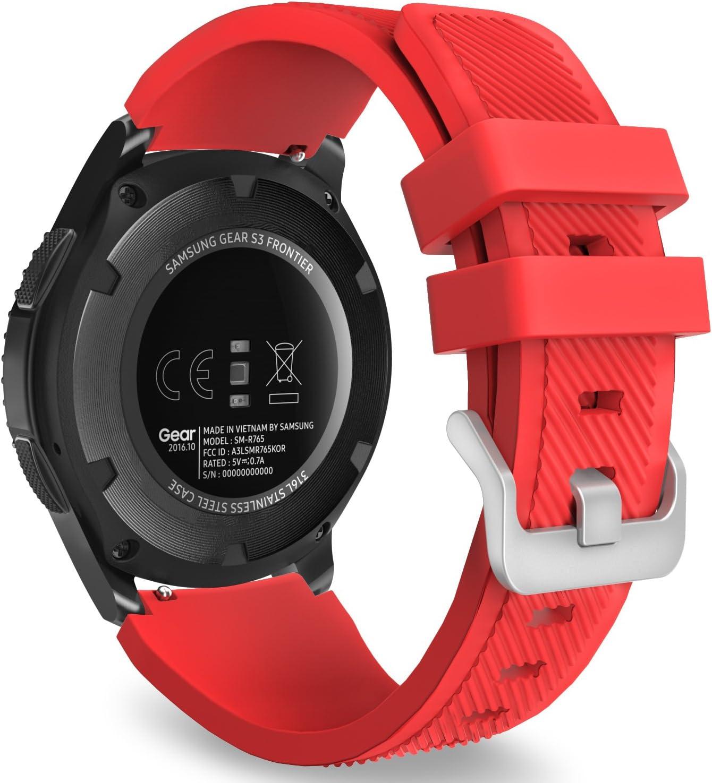 MoKo Correa para Samsung Galaxy Watch 3 45mm/Galaxy Watch 46mm/Gear S3 Frontier/S3 Classic/Huawei Watch GT/GT2 46mm/GT 2e - 22mm Watch Band Deportiva de Silicona Suave Reemplazo Band, Rojo