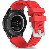 MoKo Samsung Gear S3 Frontier / Classic / Moto 360 2nd Gen 46mm Correa - Watch Band Deportiva de Silicona Suave Reemplazo Sport Band para Samsung Gear S3 Frontier / S3 Classic Smartwatch, Rojo