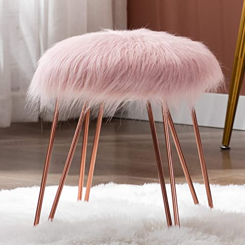 Duhome Mongolian Faux Fur Ottoman Round Foot Rest Stool Vanity Stool Makeup Stool