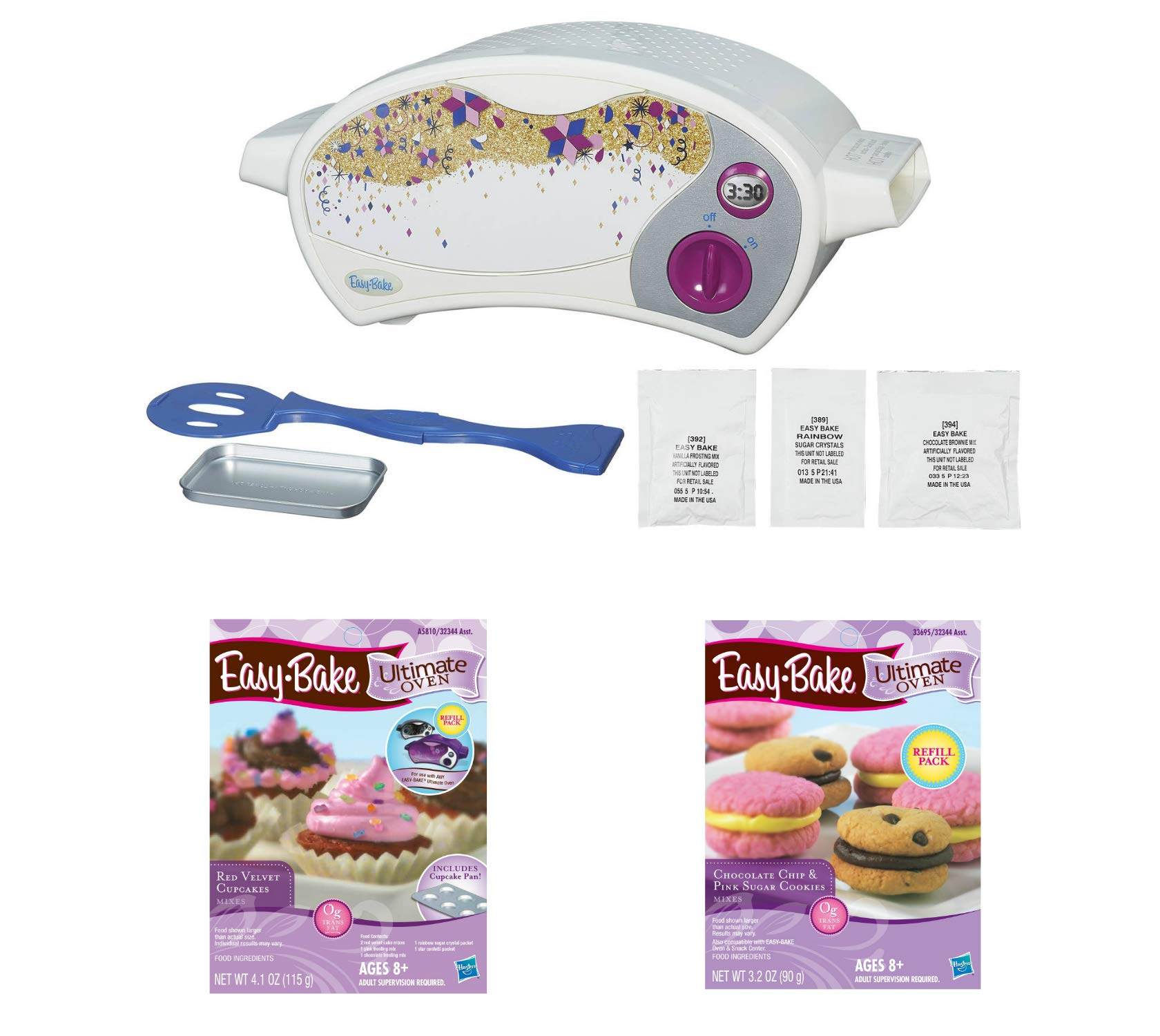 Easy Bake Oven Star Edition + Red Velvet Cupcakes + Chocolate Chip and Sugar Cookies Refill Setl. Set of 3 Items by Easy Bake