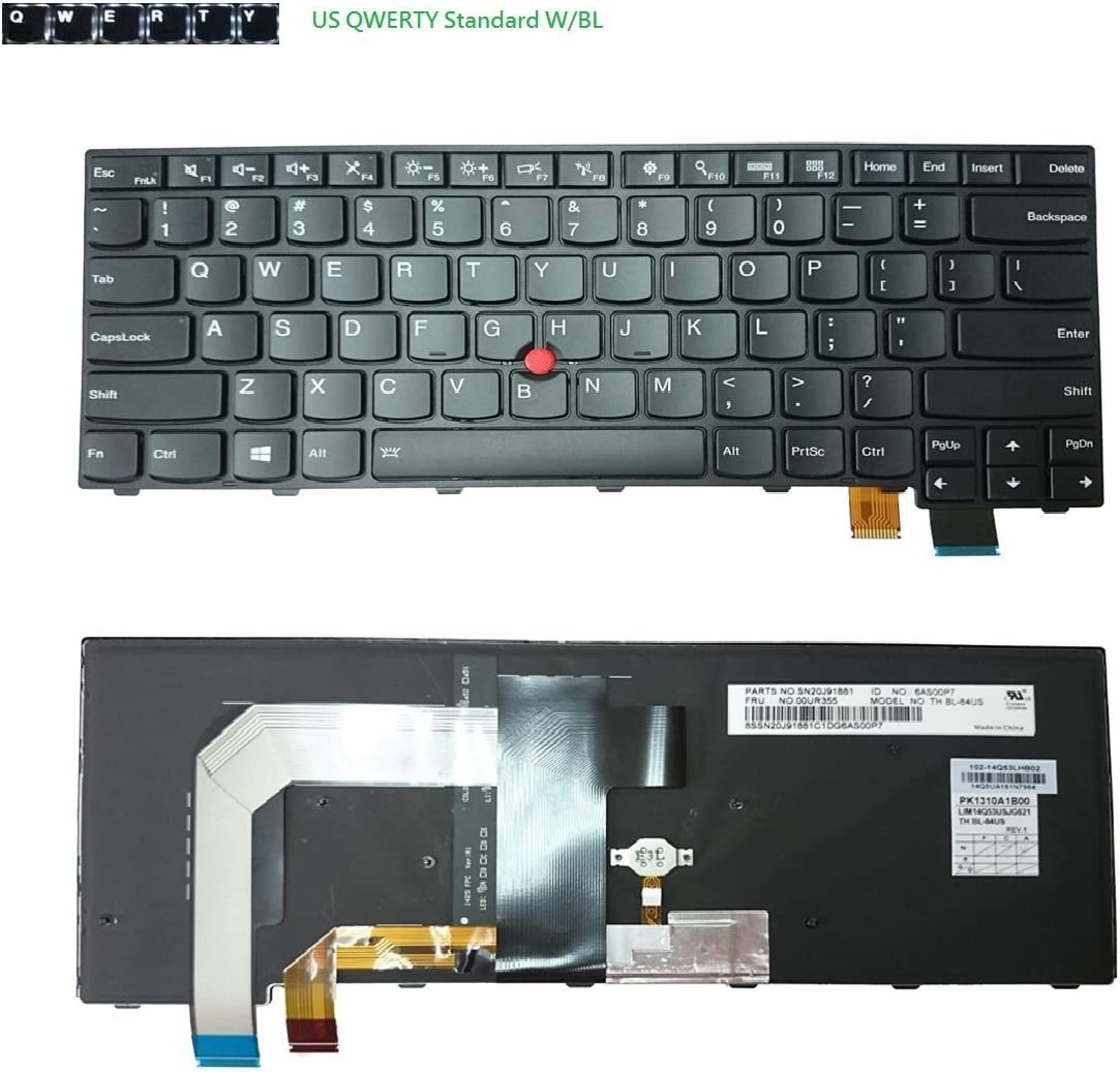 aGooDo US Backlit Keyboard for Lenovo Thinkpad T460P T470P BL 2