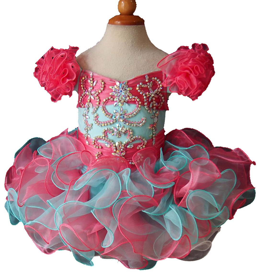Jenniferwu Infant Toddler Baby Newborn Little Girl's Pageant Party Birthday Dress G080-3 Mint Size 12-18M