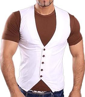 Tazzio shirt manches courtes été Contraste Gilet avec chemise t-shirt  blanc marron de d77c20ce94a6