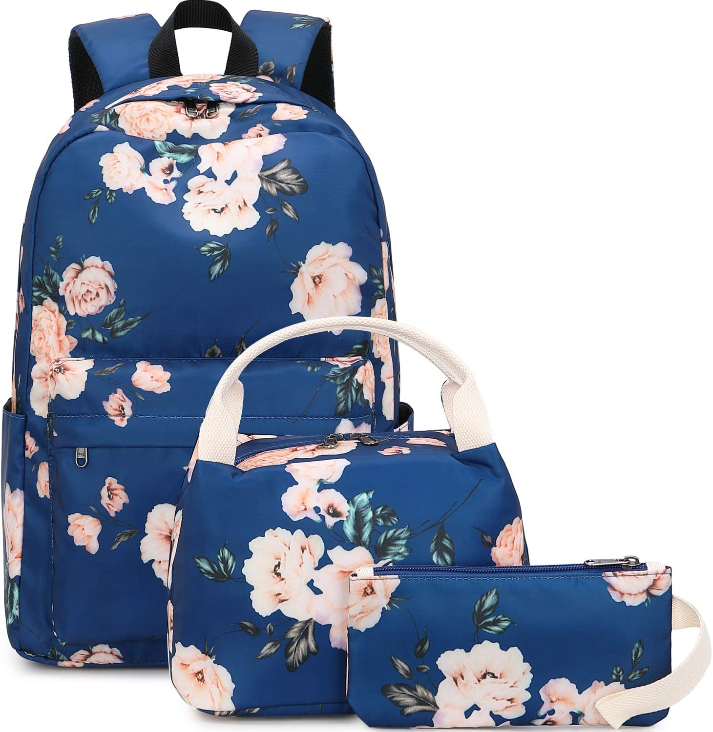 BLUBOON School Backpack Set Canvas Teen Girls Bookbags 15 inches Laptop Backpack Kids Lunch Tote Bag Clutch Purse (E0066 Navy Blue)