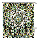 Liguo88 Custom Waterproof Bathroom Shower Curtain Polyester Arabesque Ethnic Moroccan Middle Eastern Oriental Traditional Vintage Islamic Mosaic Motif Multicolor Decorative bathroom
