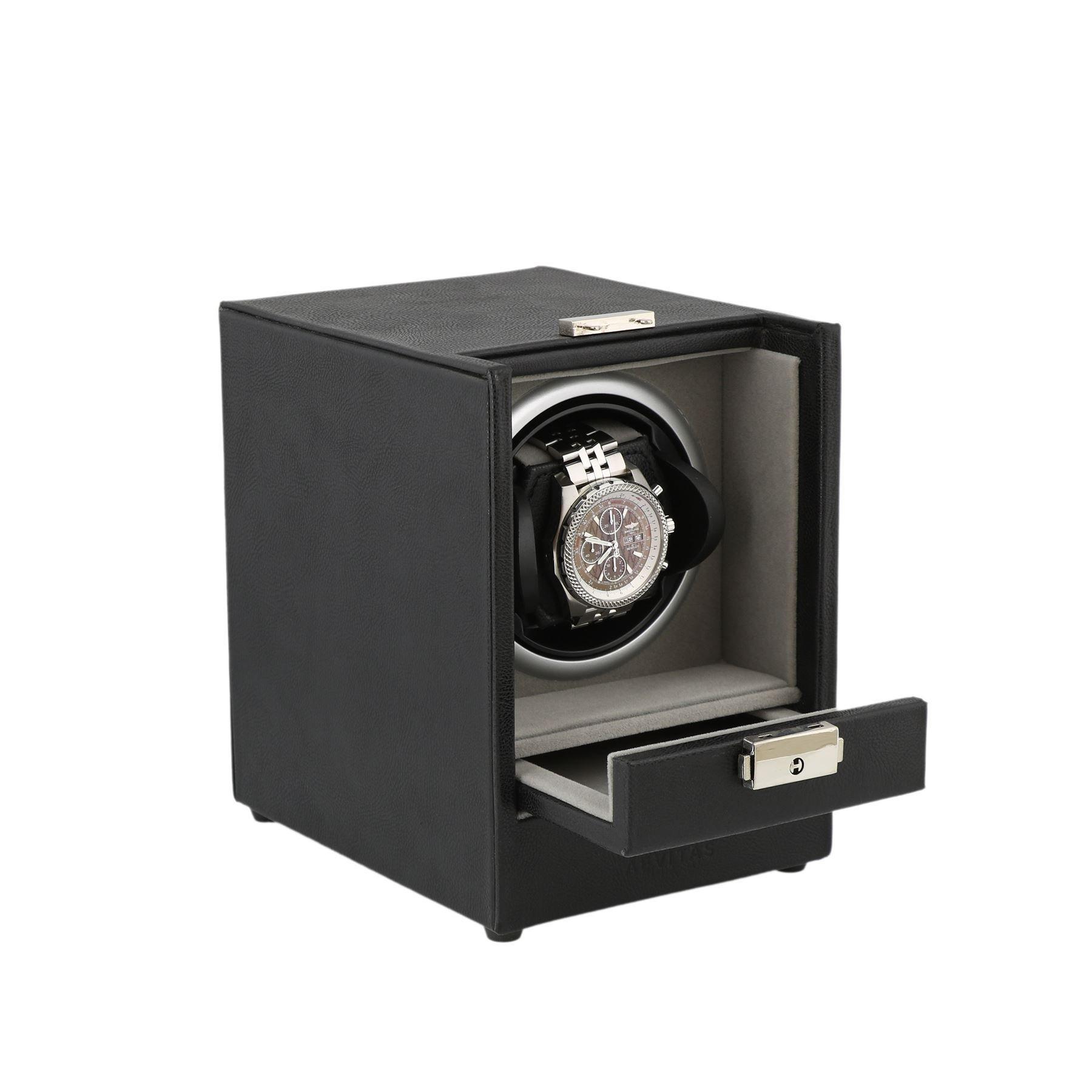 Black Genuine Leather Watch Winder - Slide Away Door - Platinum Velvet Lining by Aevitas