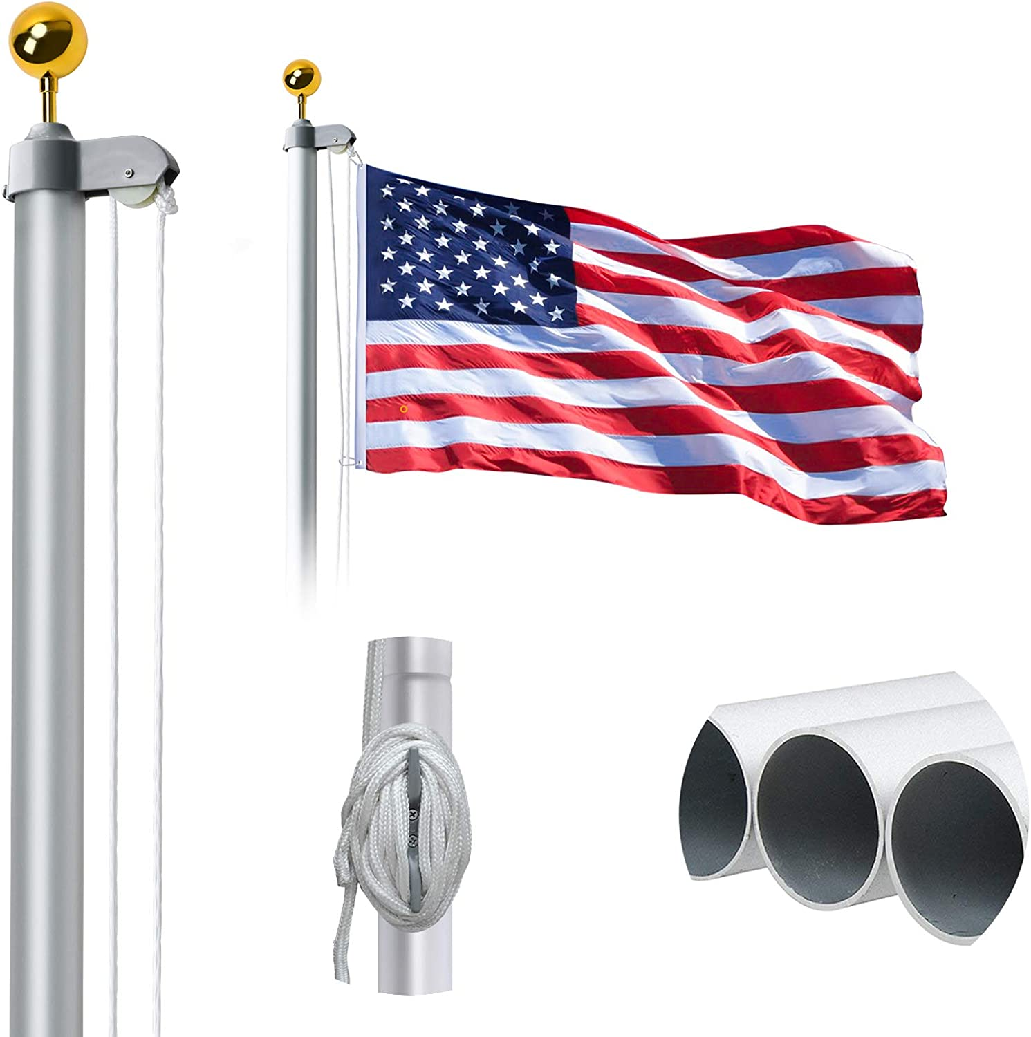 WeValor 20FT Sectional Flag Pole Kit, Extra Thick Heavy Duty Aluminum Outdoor In ground Flagpole with Free 3x5 Polyester American Flag and Golden Ball, for Residential or Commercial, Silver