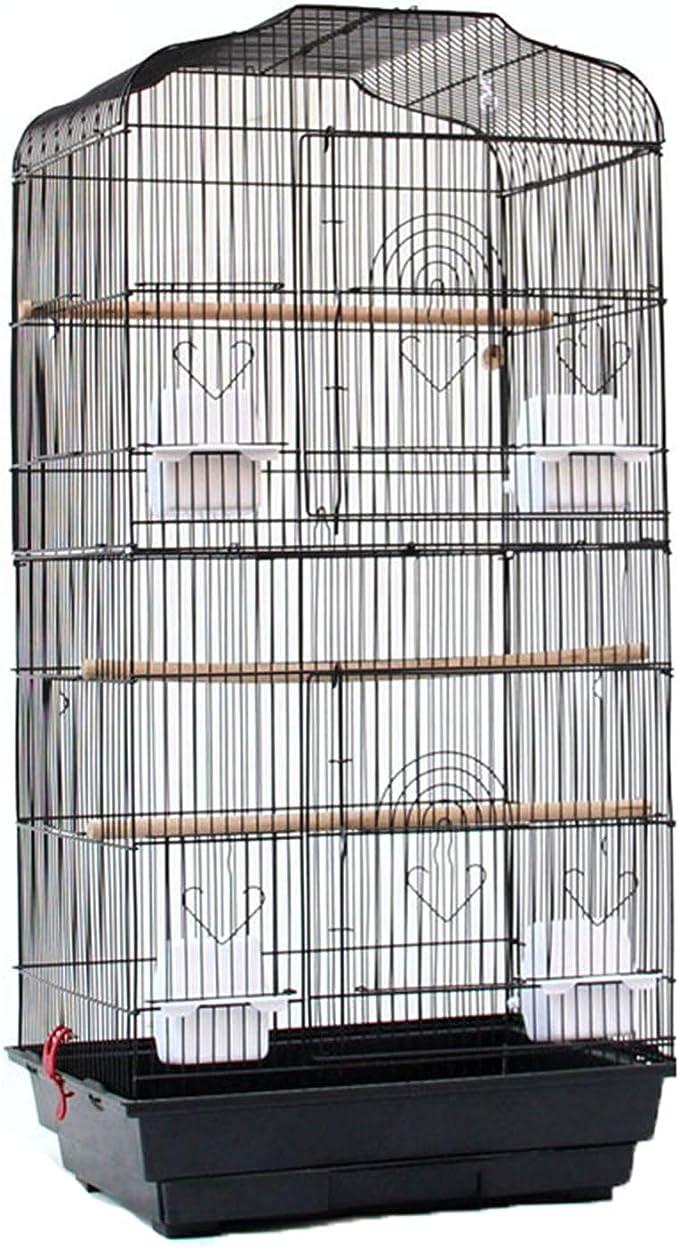Huachaoxiang Jaulas De Pájaros, Loro Doblado Metal Forjado De Hierro Jaula De Pájaros Más Alta Jaula De Pintura Creativa Cejas Jaulas Eje Jaula De Pájaro,Negro