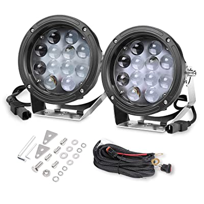 LED Pods, OFFROADTOWN 2pcs 7inch 120W LED Work Light Bar CREE Off road Driving Lights with Wiring Harness Spot Beam Round Fog lights Waterproof LED Cubes for Truck Jeep Boat Heavy Duty UTV ATV Marine: Automotive
