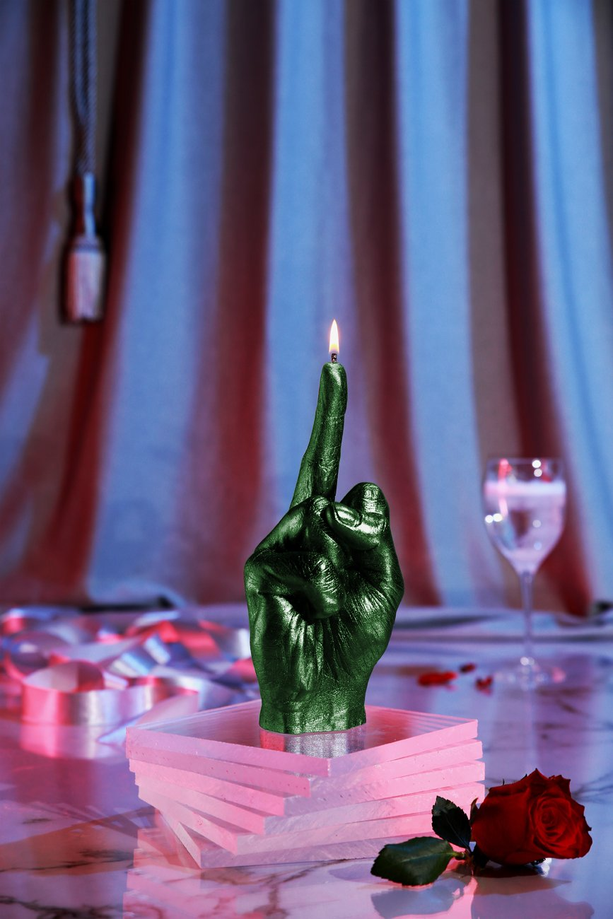 Candellana Candles Candellana- Middle Finger Candle-Green Metallic,