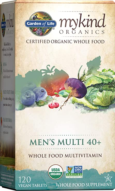 Garden of Life mykind Organics Whole Food Multivitamin for Men 40+ 120 Tablets, Vegan Mens Multi for Health & Well-Being Certified Organic Whole Food Vitamins & Minerals for Men Over 40 Mens Vitamins
