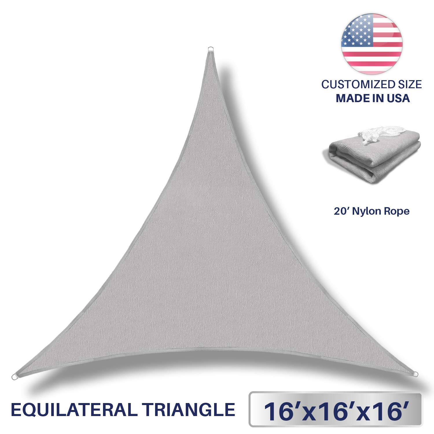 Windscreen4less 16' x 16' x 16' Sun Shade Sail Canopy in Light Grey with Commercial Grade (3 Year Warranty) Customized by Windscreen4less